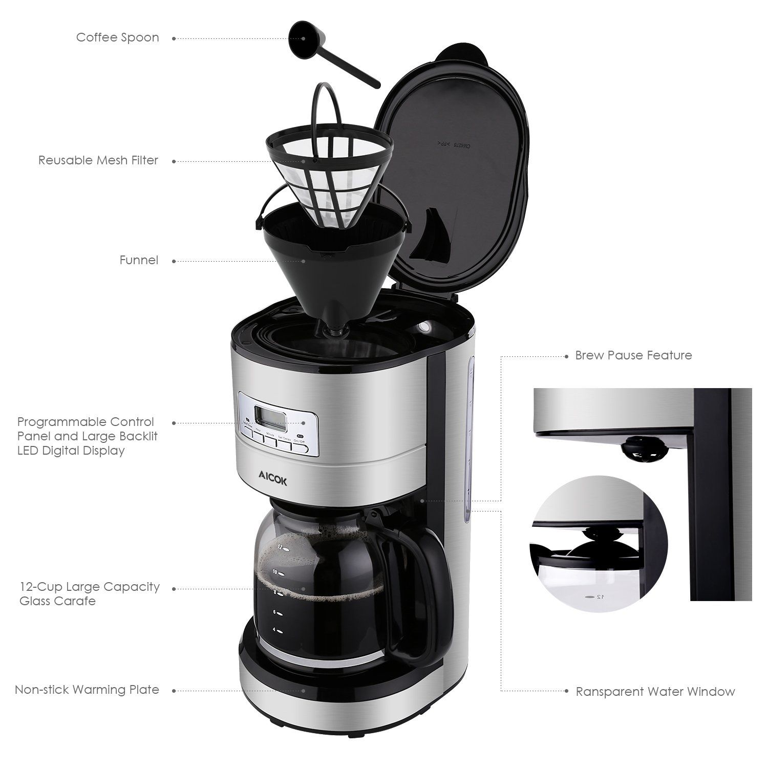 Coffee Maker Aicok Filter Coffee Machine 12 Cup Programmable Coffee Makers 1 5 Liters Timer Coffee M Filter Coffee Machine Coffee Maker With Timer Coffee Maker