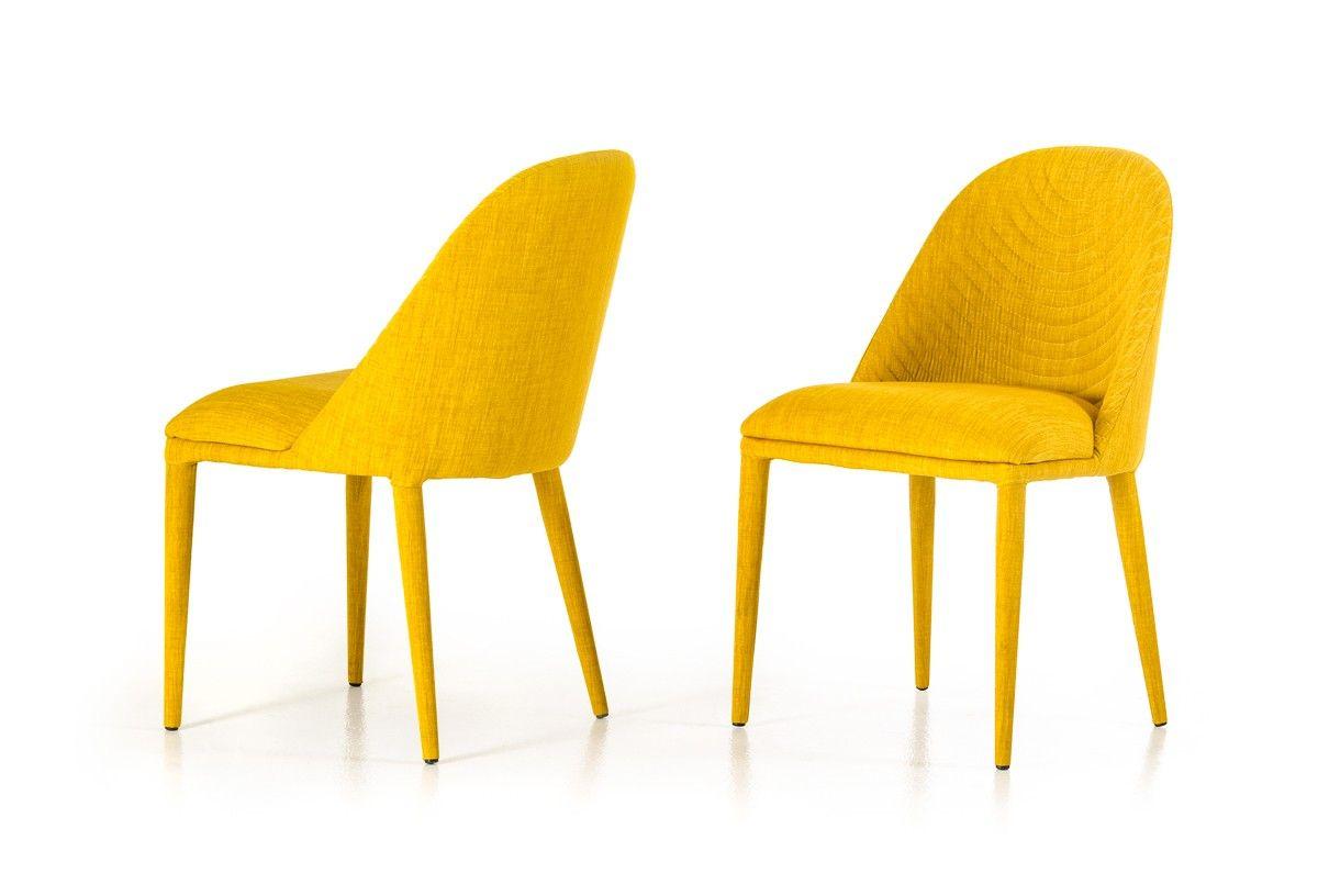 Brooke Modern Yellow Fabric Dining Chair Set Of 2 With Images Fabric Dining Chairs Yellow Dining Chairs Modern Fabric Dining Chairs
