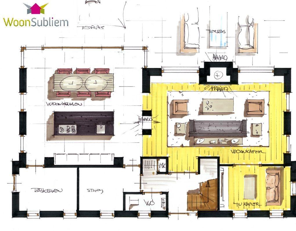 Woonsubliem moderne schuurwoning architect villa indeling huizen pinterest studio 39 s tvs - Kamer indeling ...