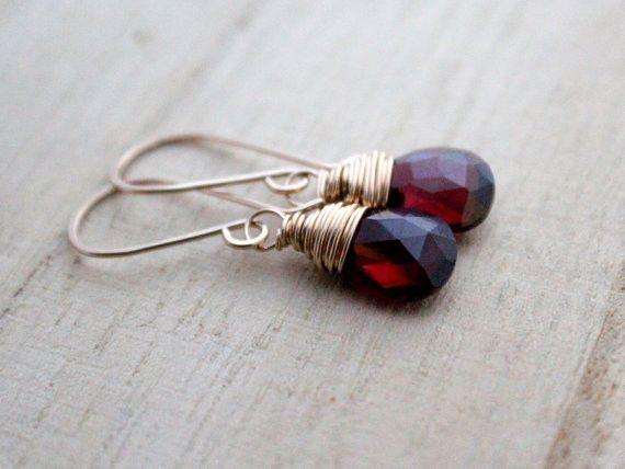 Garnet Drop Earrings, by Saressa Designs