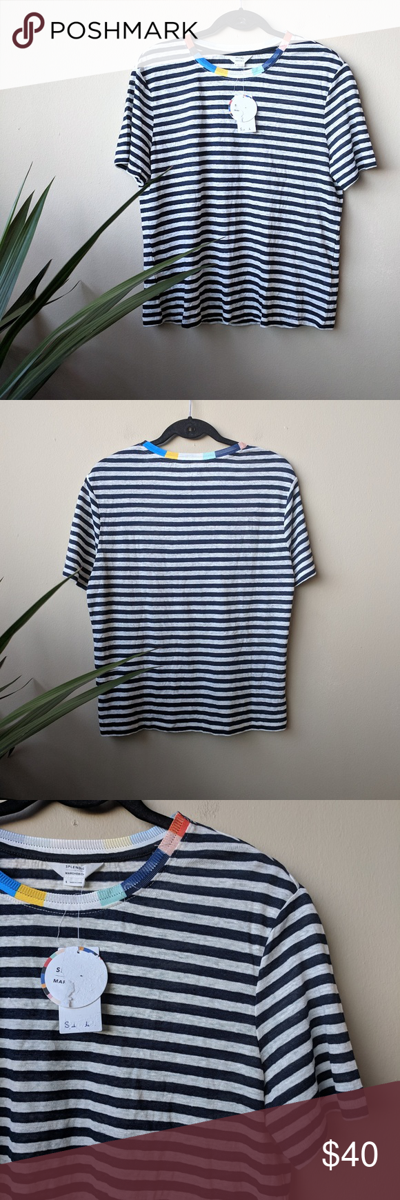 c6d1bac0f2 Splendid X Margherita Ciao Bella Striped Navy Tee NWT Splendid X Margherita  Ciao Bella navy and neutral white striped shirt with rainbow multicolor  neckline ...