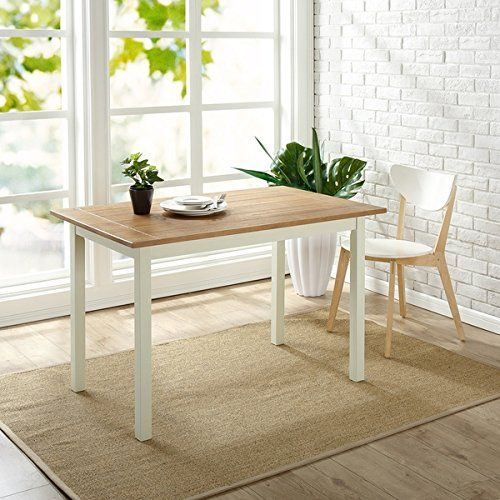 Priage Farmhouse White Natural Wood Dining Table Dining