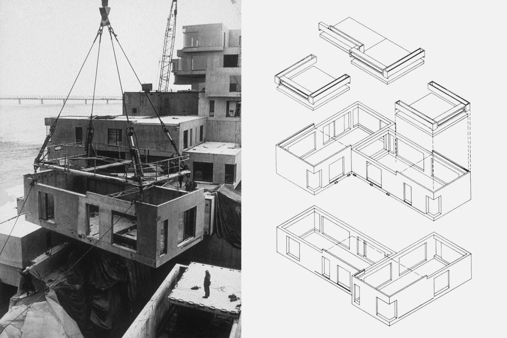 Habitat 67 units being craned into place and an exploded axonometric of the construction elements. | Habitats