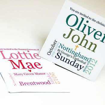 Christening Words Invitation Pink Or Blue Word block - invitations in word