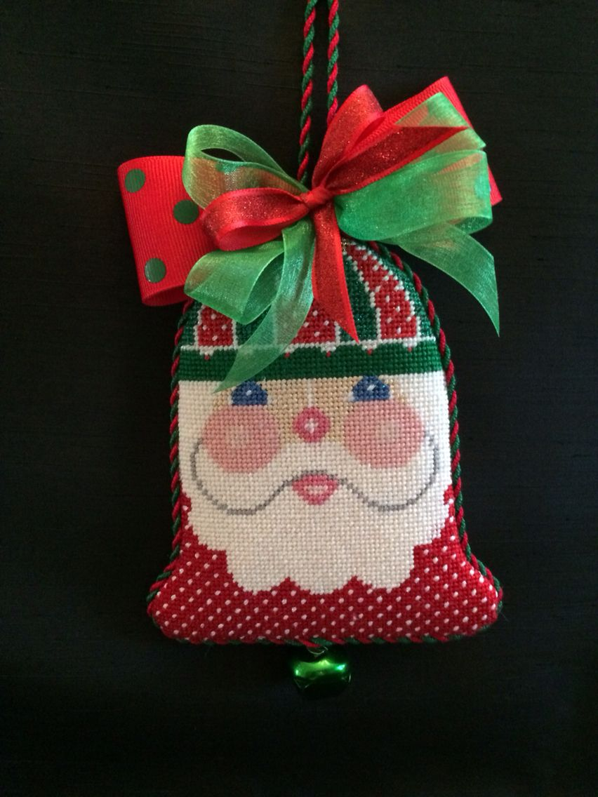 Santa bell ornament ~ canvas by Shelly