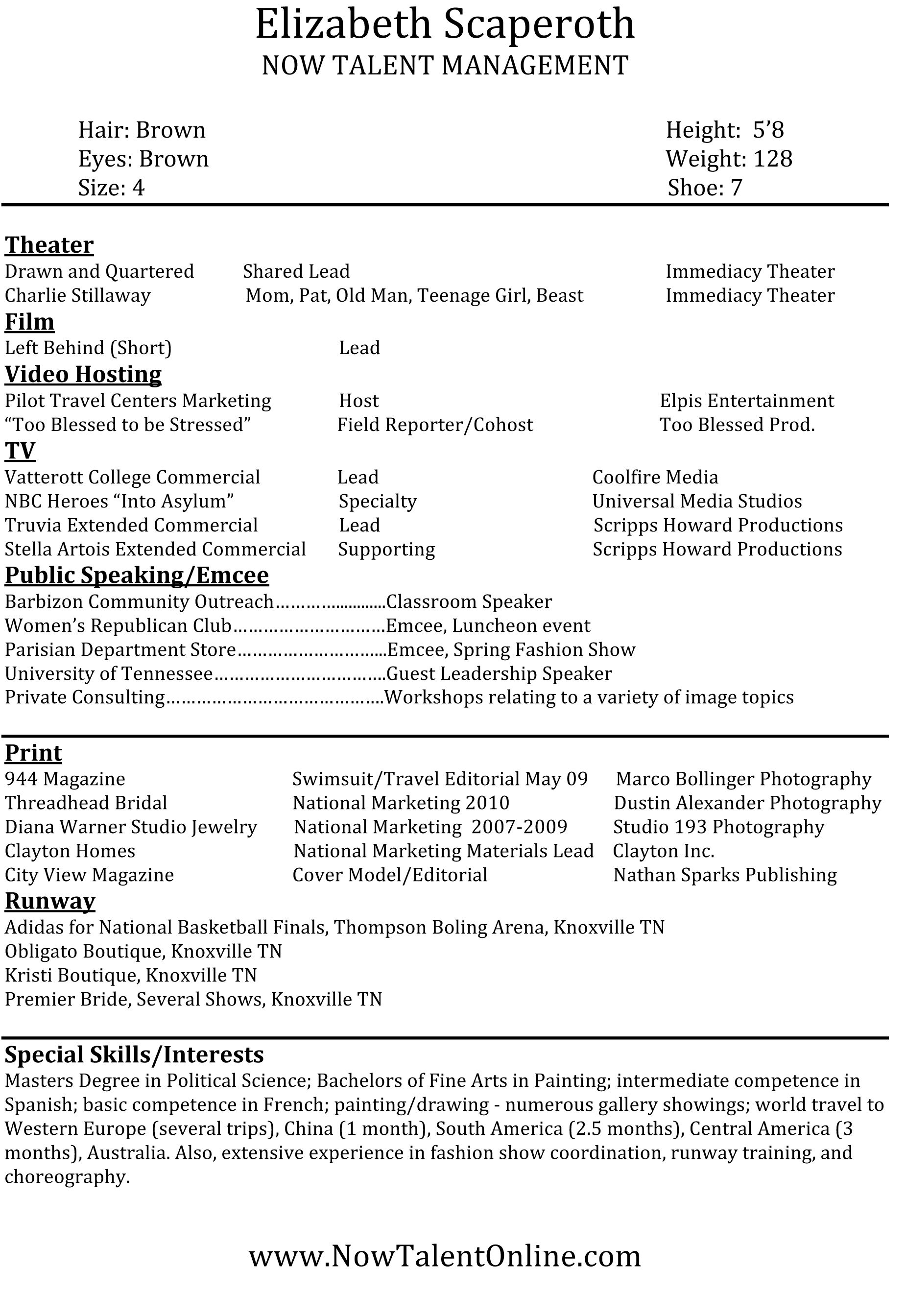 Acting And Modeling Resume - Resume Sample