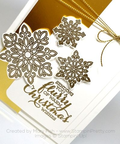 Stampin Up Flurry of Wishes Snow Flurry Punch Christmas Cards Mary Fish