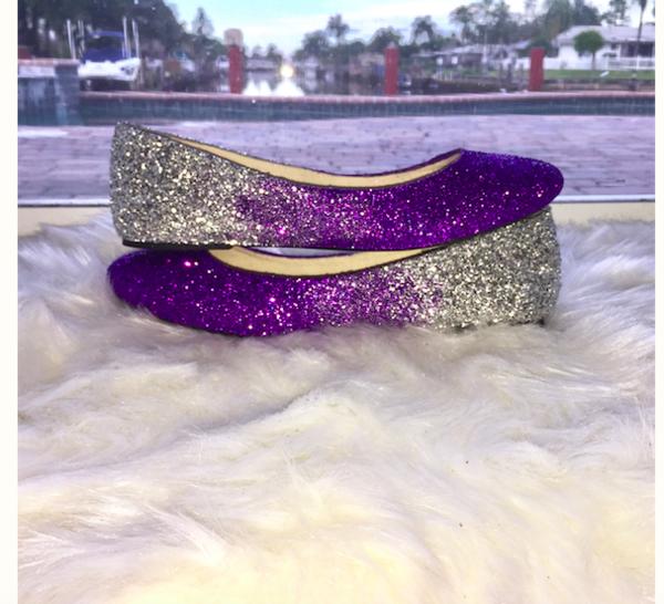 Women S Sparkly Purple Silver Ombre Glitter Ballet Flats Wedding