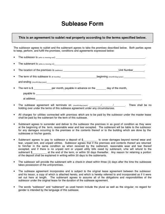 Sublease Agreement Template - Invitation Templates - sublet - free lease agreement