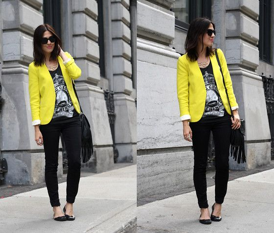 H Neon Yellow Blazer, Young Ghost Clothing Tank, We Sc Skinny ...