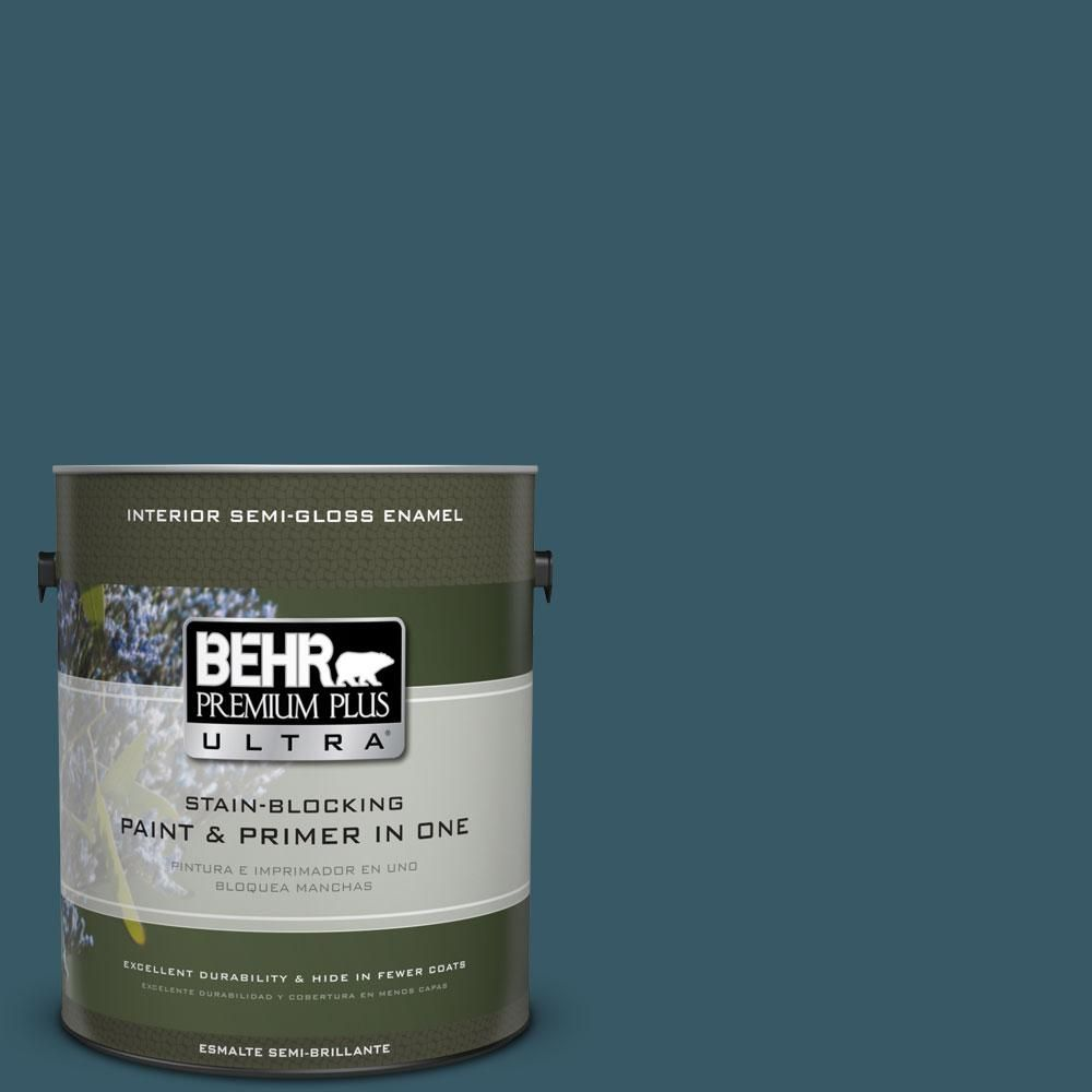 BEHR Premium Plus Ultra 1-gal. #S460-7 Deep Breath Semi-Gloss Enamel Interior Paint