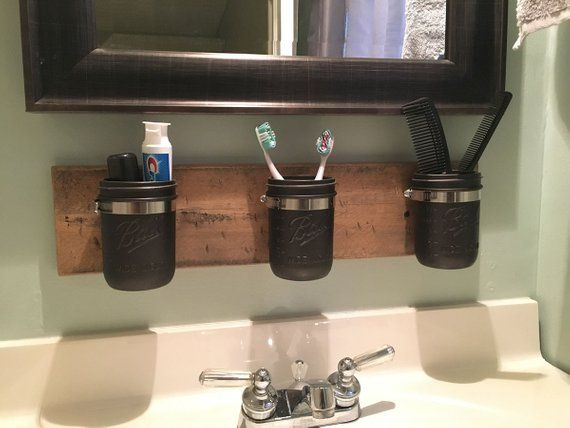 Farmhouse Mason Jar Organizer - Rustic Mason Jar Bathroom Organizer - Mason Jar Bathroom Accessories images