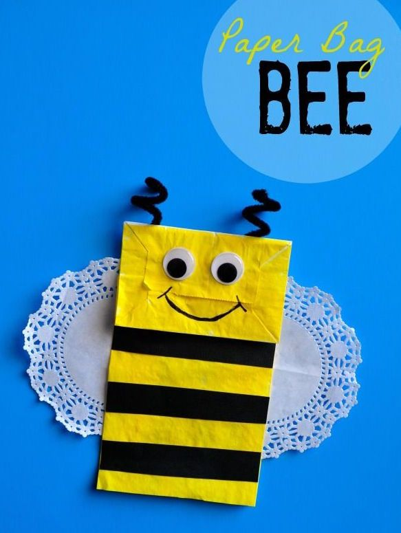 Cute Bee Craft Made With Paper Bags Art And Craft For Kids