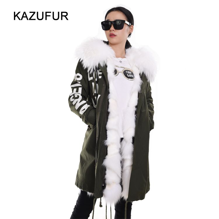 Check out this product on Alibaba.com APP Winter fox fur coat with green fabric parka for women parka coat real fur lined