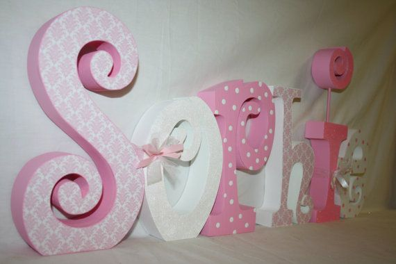 girl nursery letters six wood letters by woodenwondersshop on etsy