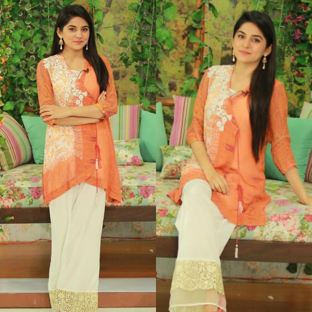 The gorgeous @sanamabalochh wearing Sobia Nazir #morningshow #wardrobe #fashion #pret
