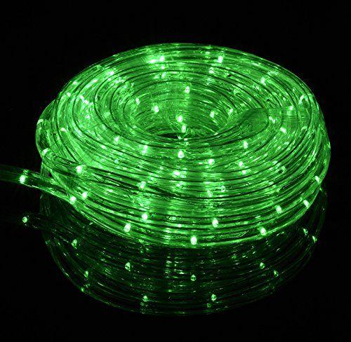 Fantado Green Outdoor LED Fairy String Rope Light 33 FT Clear Tube