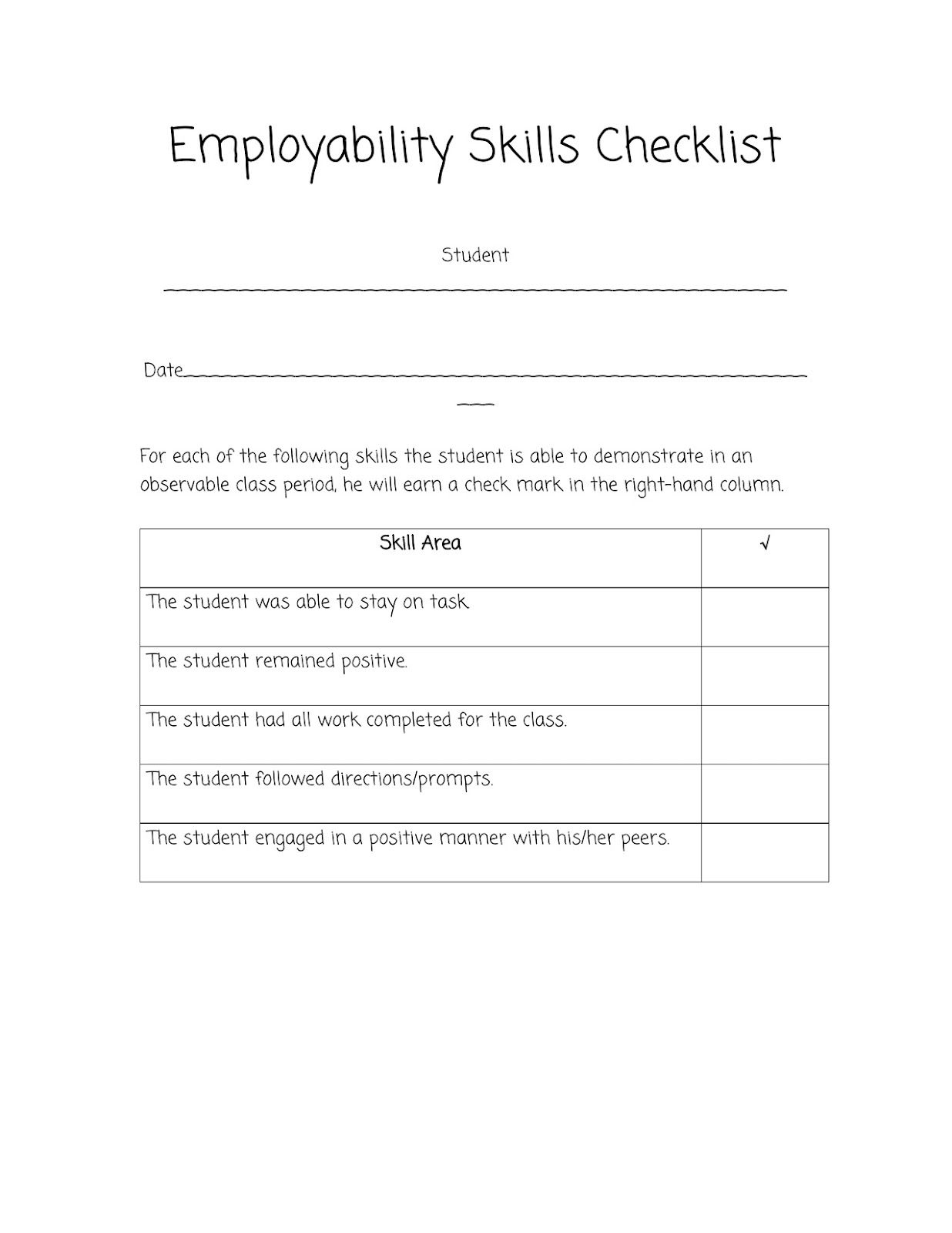 sped head employability skills checklist employment