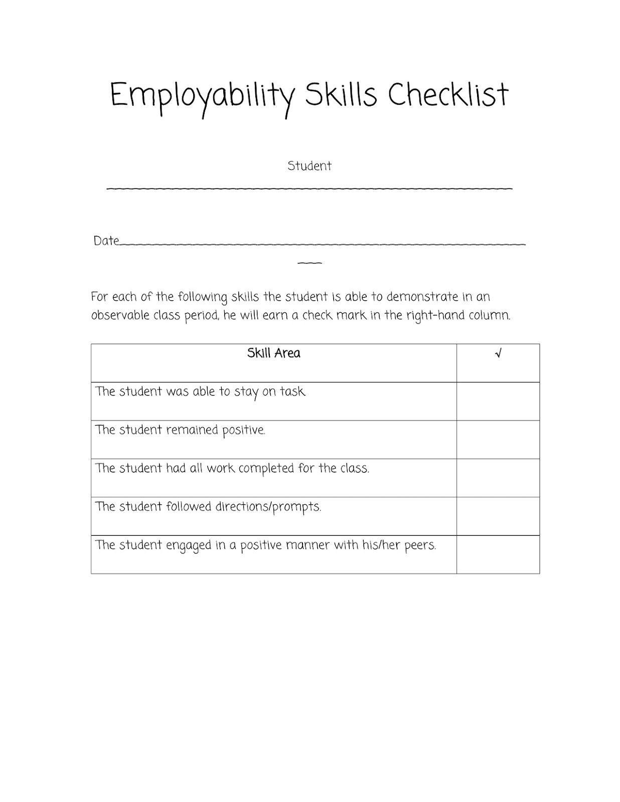 Worksheets Employability Skills Worksheets sped head employability skills checklist behavior social and checklist