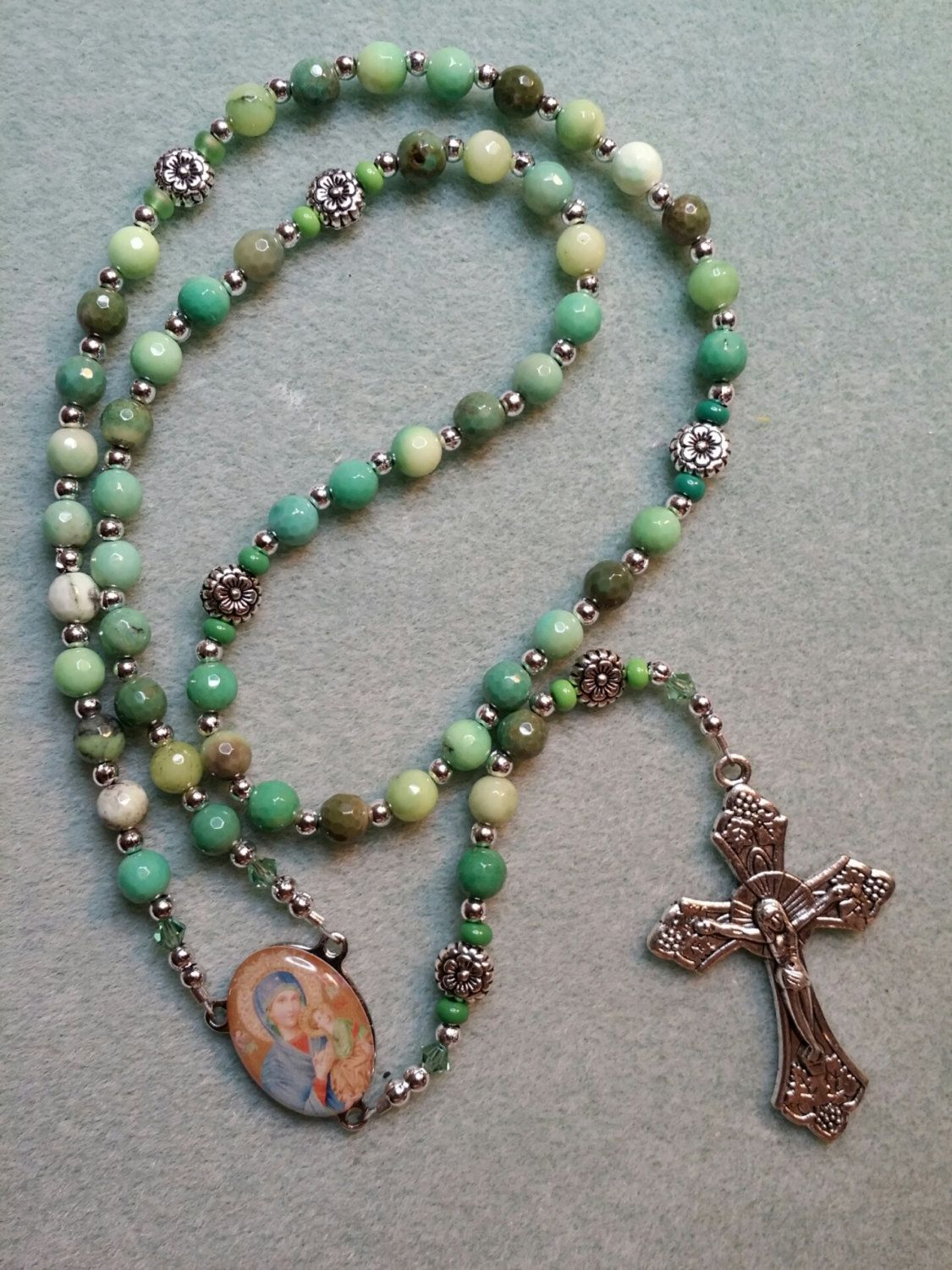 Our mother of perpetual help green crystophase rosary by