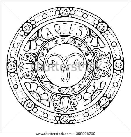 Zodiac sign of aries and constellation in mandala with ethnic ...