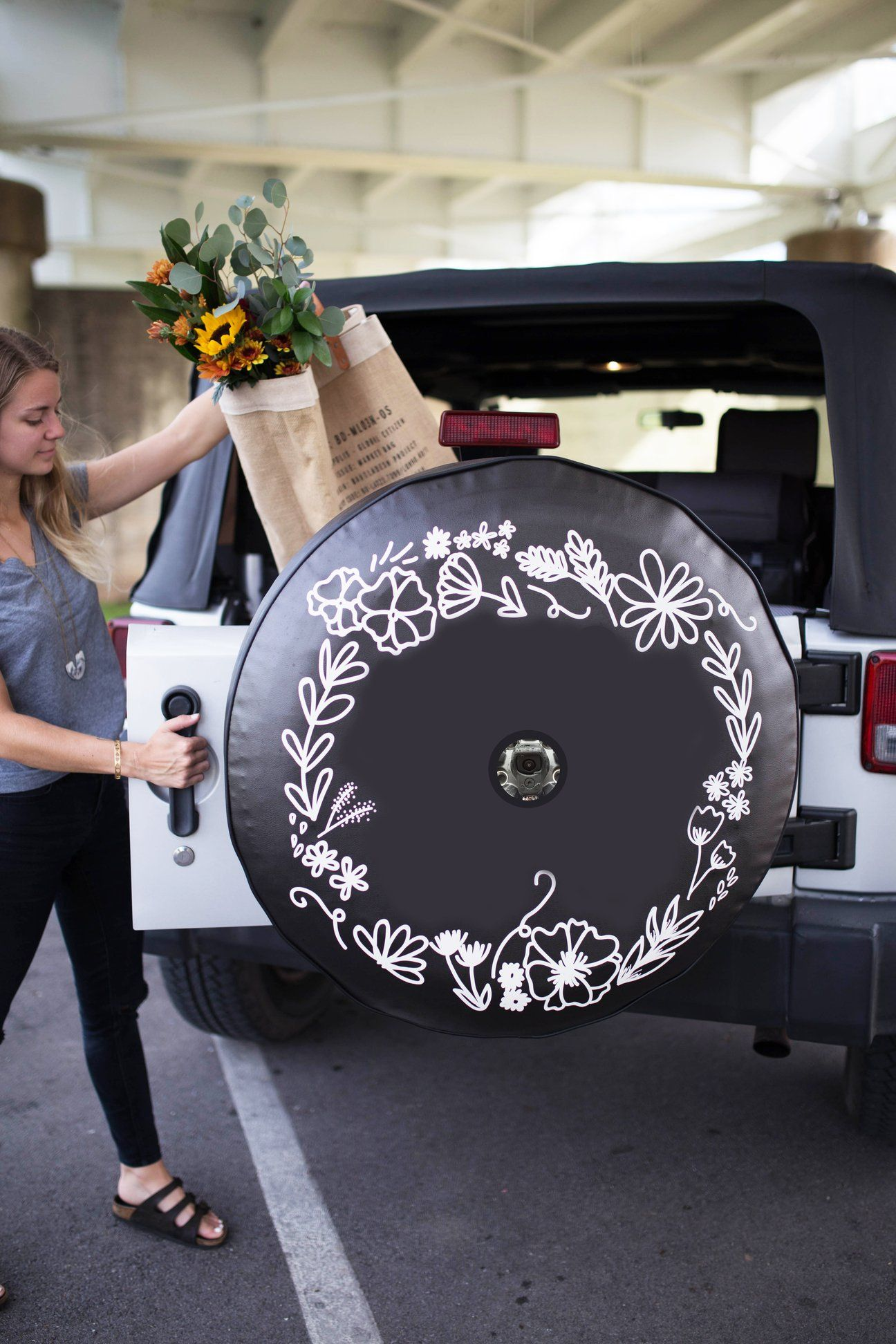 Jl Backup Camera Floral Wreath Jeep Tire Cover Tire Cover Floral Wreath Design