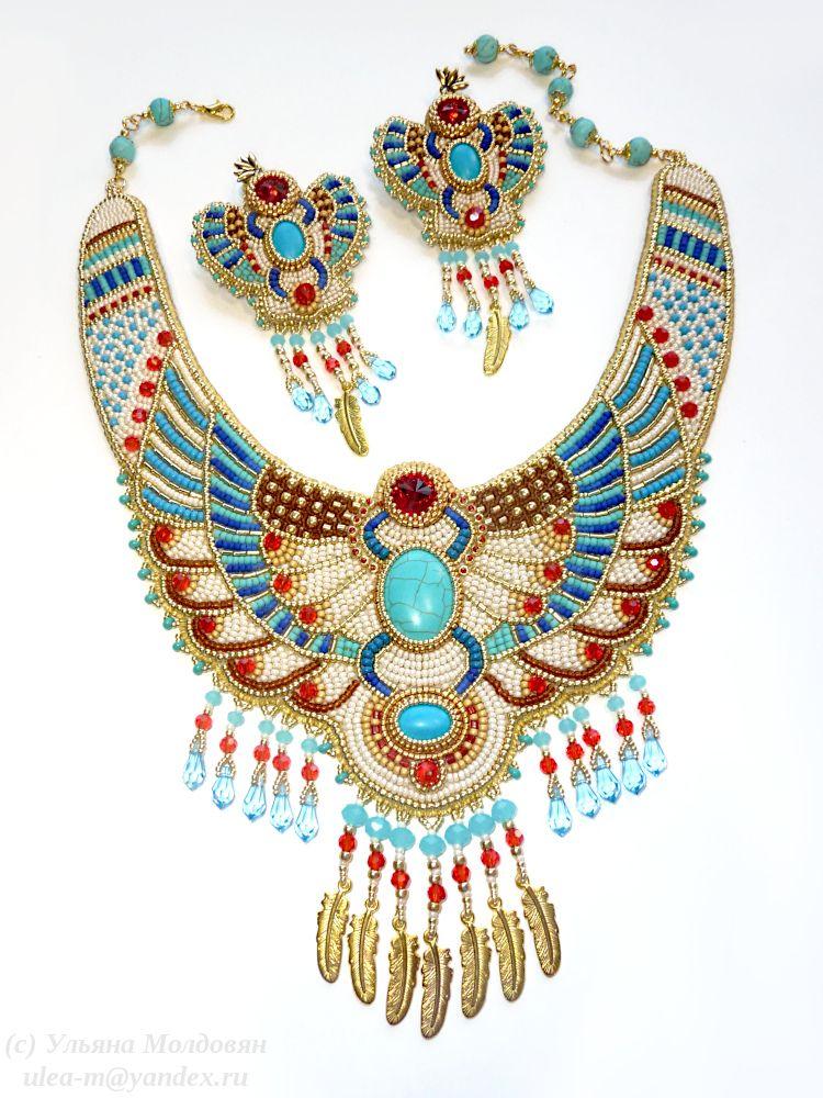 collar necklace beaded collar natural stones embroidery unique collar Russian style unique ornament