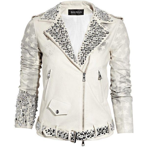 Balmain Embellished flag-print leather motocross jacket ($9,500) ❤ liked on Polyvore