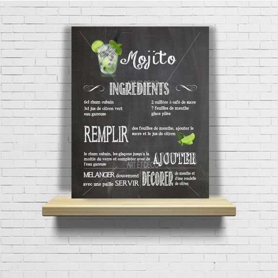 tableau cocktail mojito recette cuisine ardoise tableau. Black Bedroom Furniture Sets. Home Design Ideas