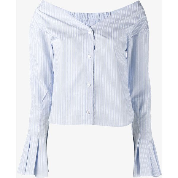 33d36a21f2f9c JACQUEMUS Off-Shoulder Striped Shirt ( 320) ❤ liked on Polyvore featuring  tops