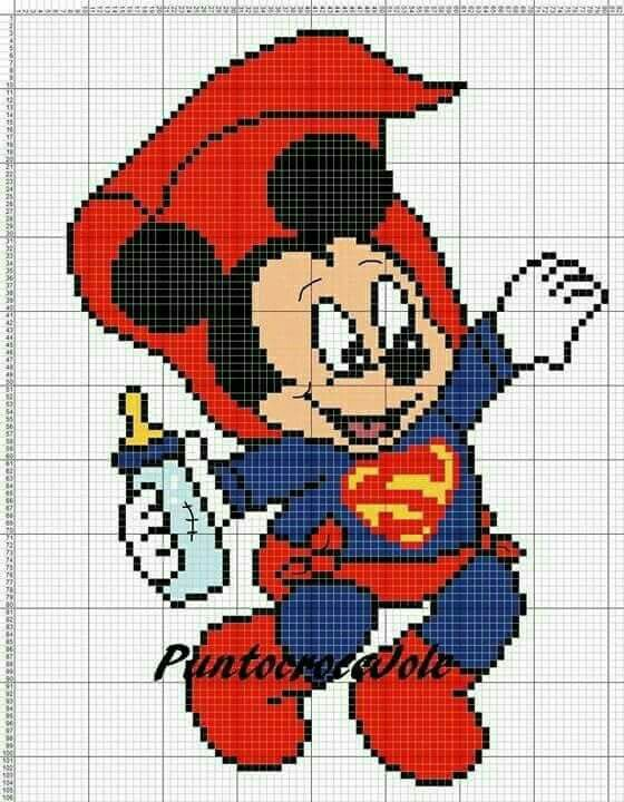 Mickey Mouse baby superman x-stitch   Point de croix ...