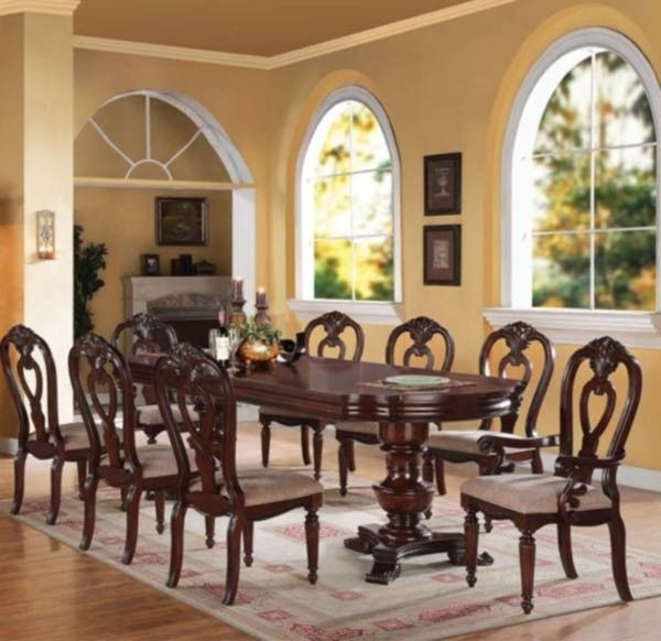 Acme Furniture Gwyneth II 9 Piece Double Pedestal Dining Table