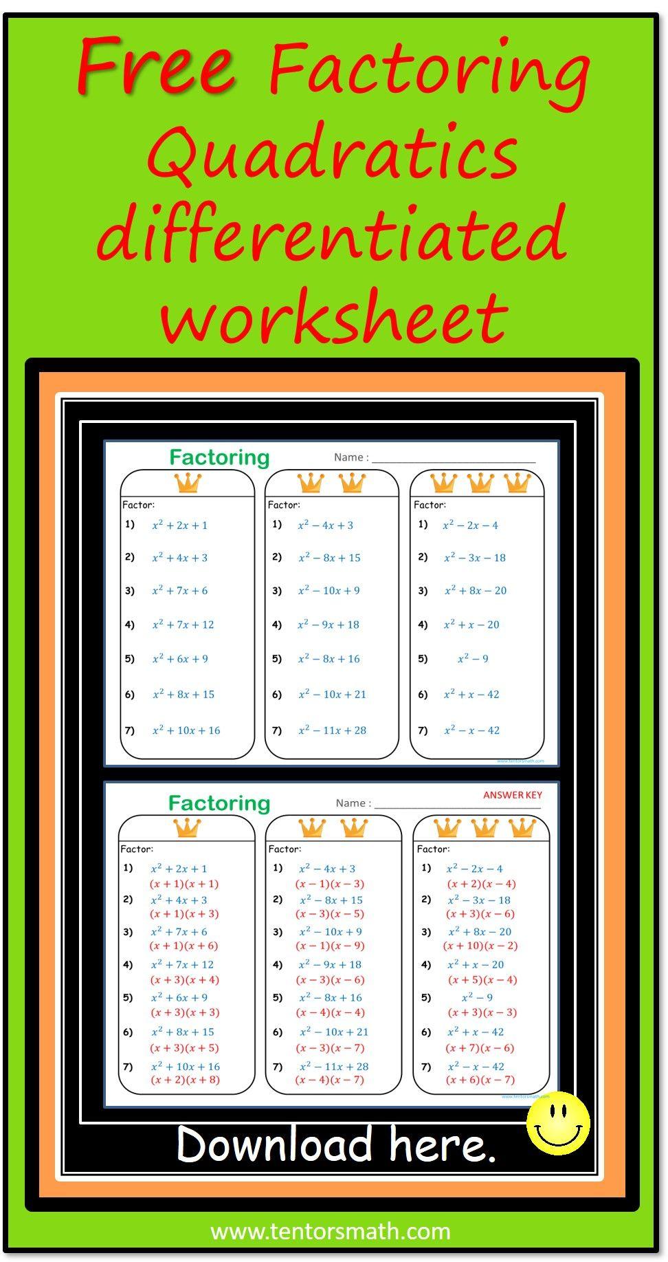 Factoring Quadratics Free Differentiated Worksheet Factoring Quadratics Quadratics Teacher Created Resources