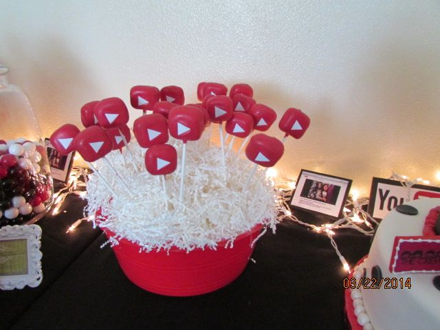 Youtube App Cake Pops Youtube Party Birthday Party Themes Bday Party Theme