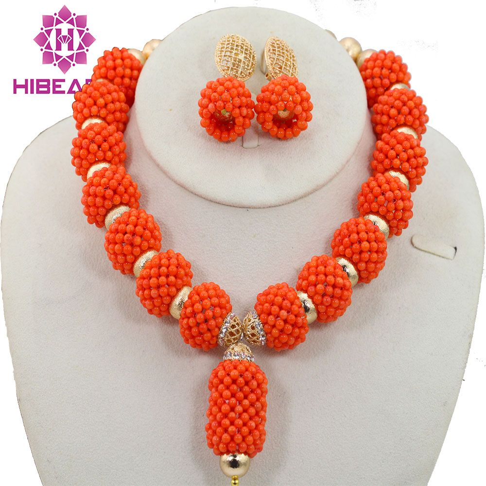 Gold Plated Orange Coral Beads Jewelry Set New Handmade African ...