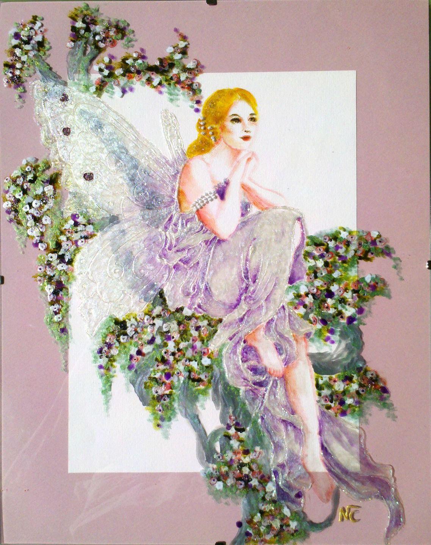 """Tableau peinture sur verre """"LA FEE DANS L'ARBRE"""" (détail d'après une illustration de K.JUN) : Peintures par mamycole"""