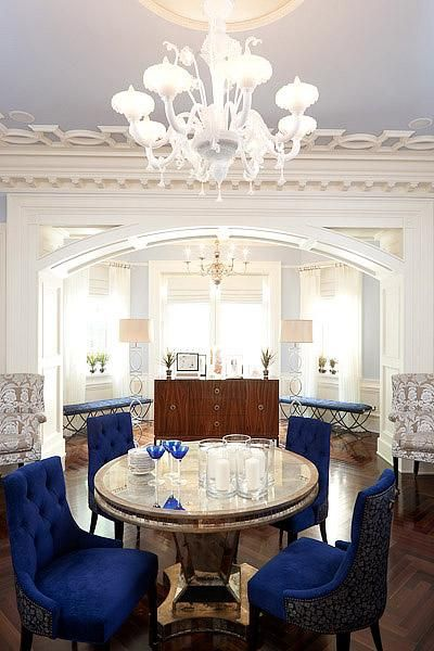 Erik Goldstein White  Royal Blue Elegant Living Room Design With - Blue dining room chairs
