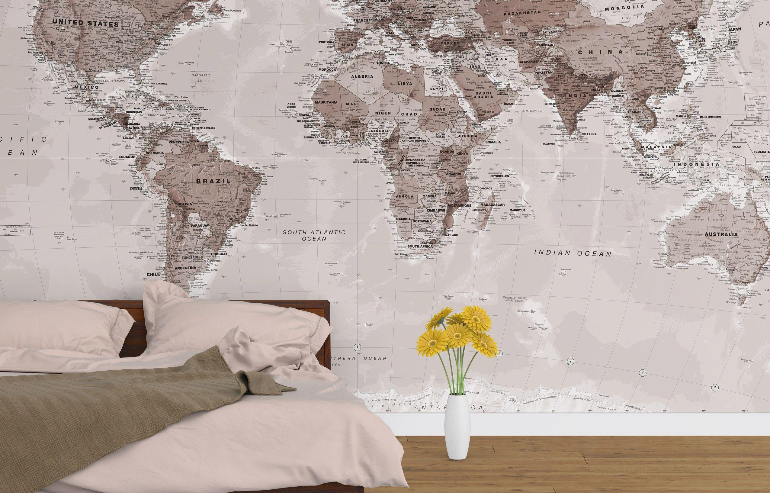 6 neutral world map wallpaper pl