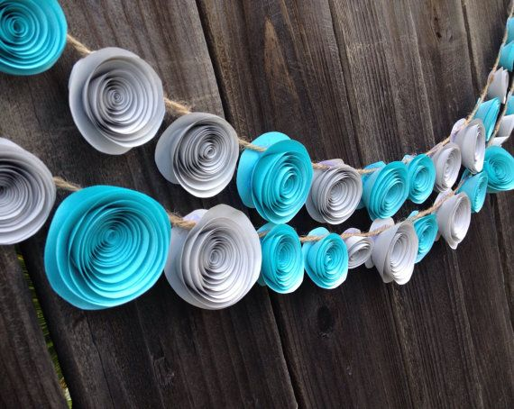 Paper flower garland teal gray Wedding, baby shower or baby's room on Etsy, $18.00 #flowergarland