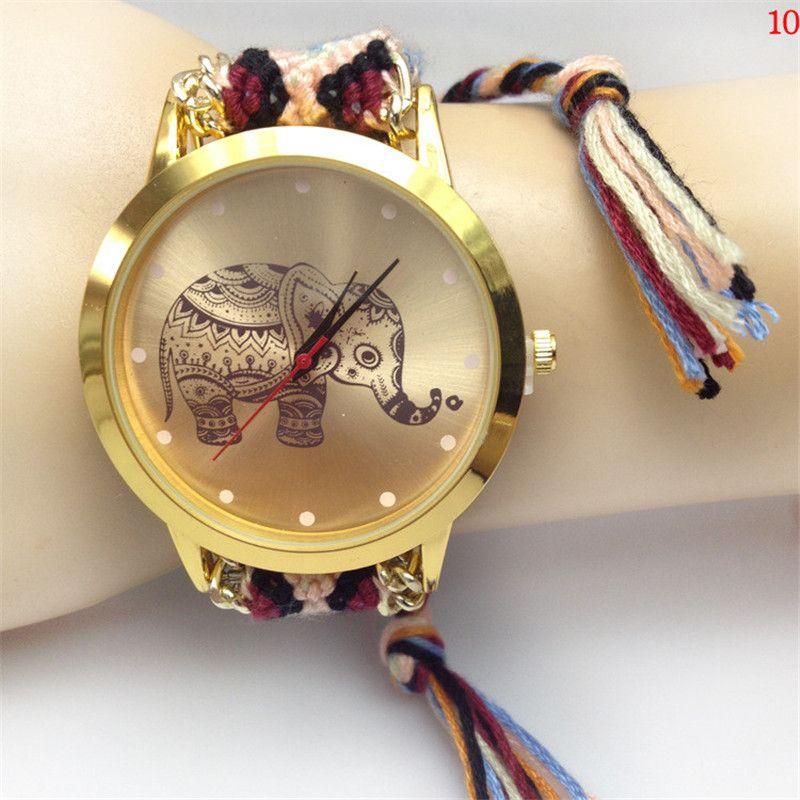 Nouveau Style Dames Corde Tress eacute e Bracelet Montre Femmes Robe Montres  Mode  Eacute l eacute phant de Bande Dessin eacute e Motif Casual Quartz ... b027dc7b3f3