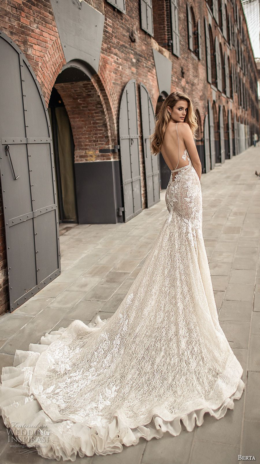 berta spring 2018 bridal sleeveless deep plunging v neckline full  embellishment sexy elegant fit and flare wedding dress open low back chapel  train (7) bv ... 0d0302e1e
