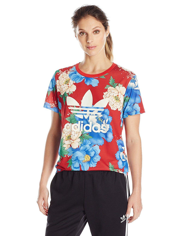 73da98f3d73bc adidas Originals Women's Boyfriend Trefoil Tee, White/La Floral, S at Amazon  Women's Clothing store: