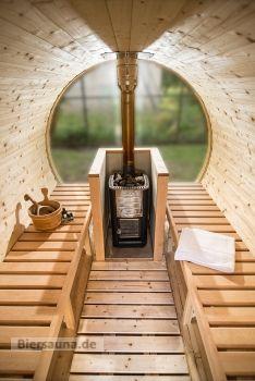 Photo of Fass-Sauna 190 x 300 cm mit Rückwand aus Glas! (Aufgebaut)