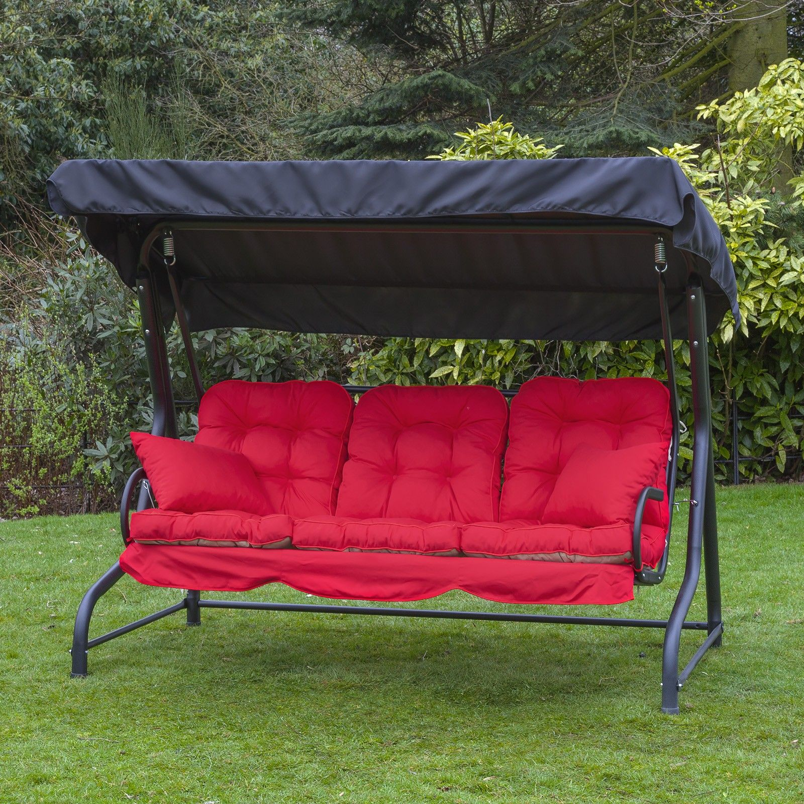 3 seater swing seat with luxury cushions black frame