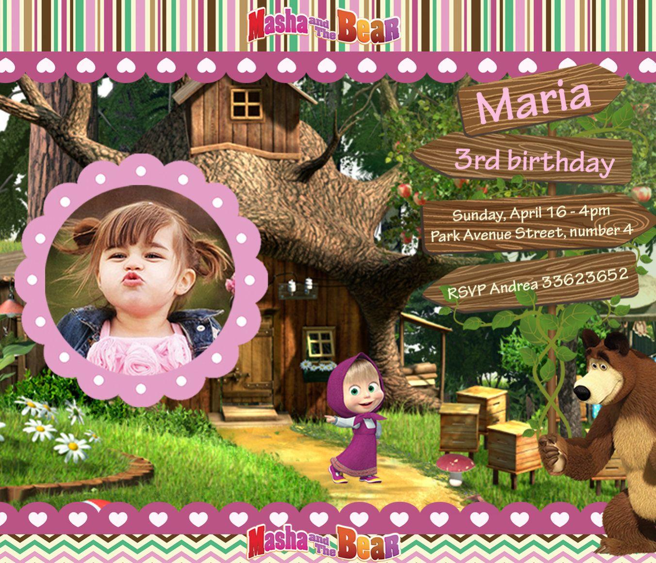 Venta Invitación Masha Y El Oso Fiesta Imprimible Masha Y