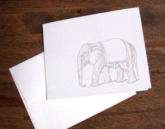 Elephant Letterpress Card