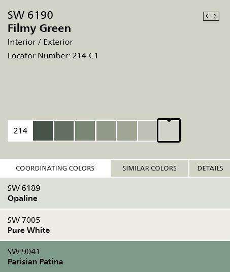 Sherwin Williams Filmy Green Sw6190 Interior Paint Color Silvery Gre Sherwin Williams Paint Colors Green Sherwin Williams Paint Colors Green Exterior Paints
