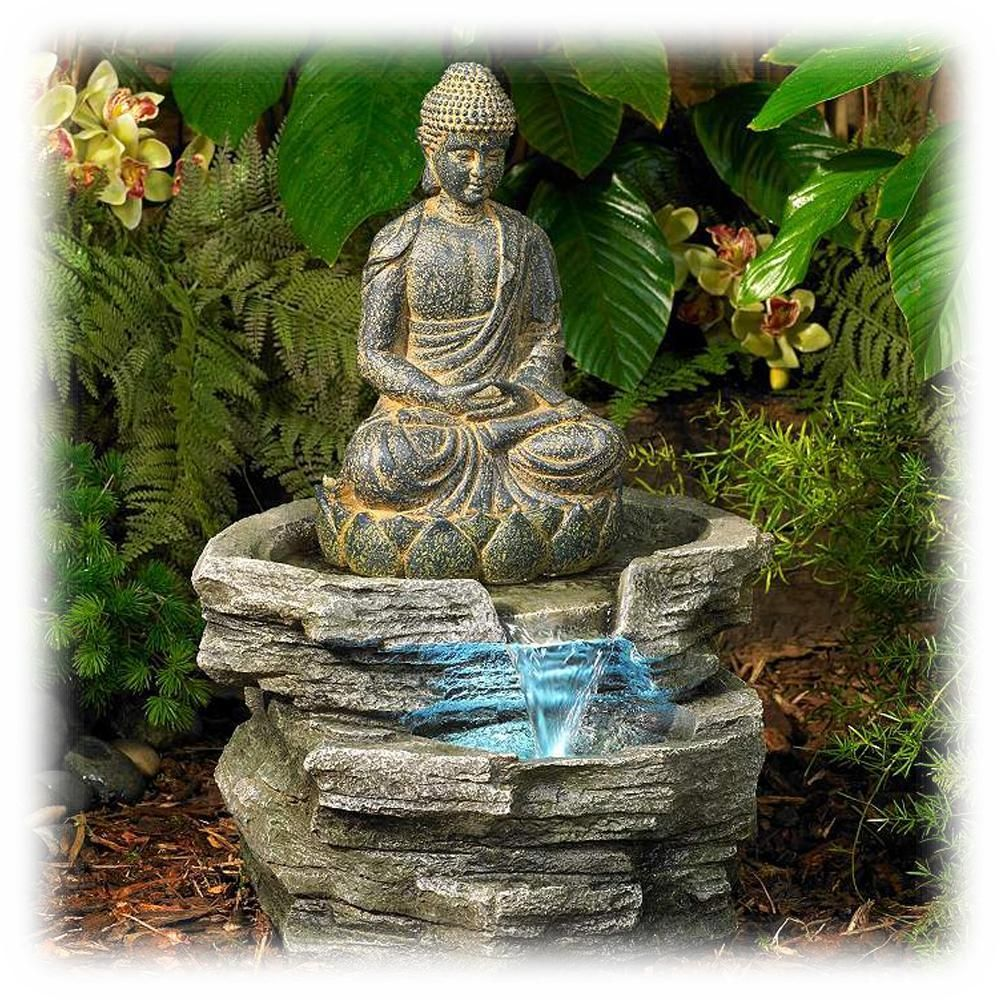 Antique Wash Buddha Statue 21 Inch Lighted Outdoor Waterfall Fountain Water Fountains Outdoor Outdoor Waterfall Fountain Buddha Garden