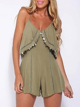 Olive Green Coin Drop Lattice Detail Overlay Romper Playsuit | Choies