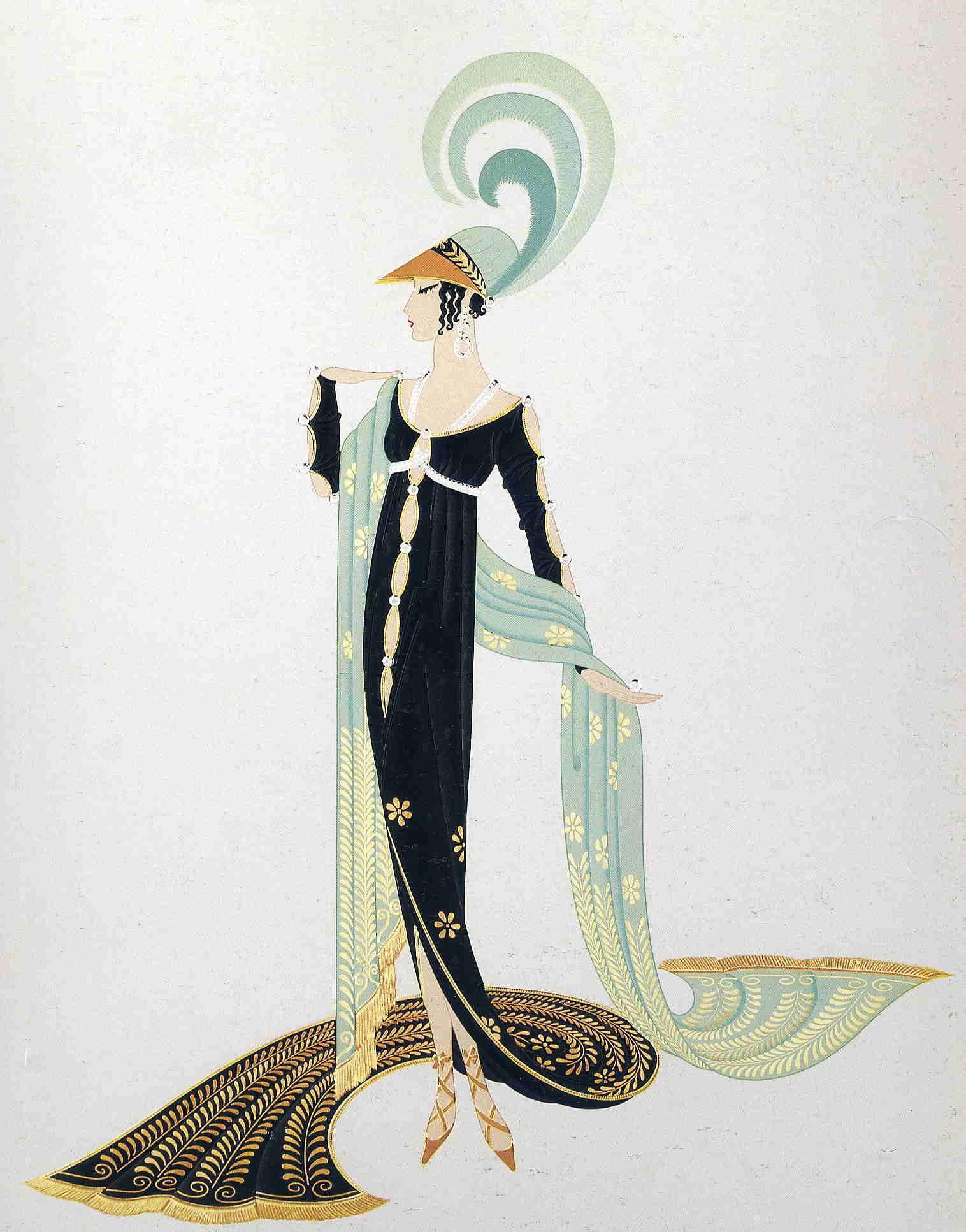 Directoire erte illustration art nouveau deco for Art deco illustration
